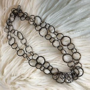 Long silver hoop chain necklace